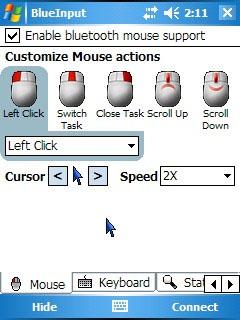 Приложение BlueInput обеспечит работу WM-смартфона и Bluetooth-мыши.